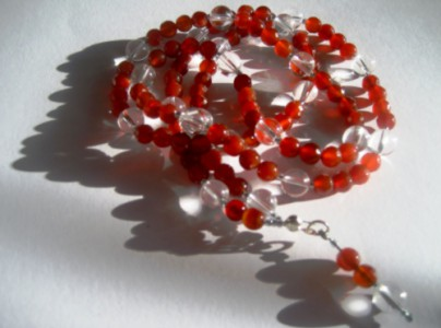 Mala aus Bergkristall, Citrin, Roter Achat