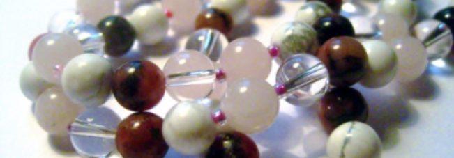 Mala aus Bergkristall Magnesit Rosenquarz Rhodonit